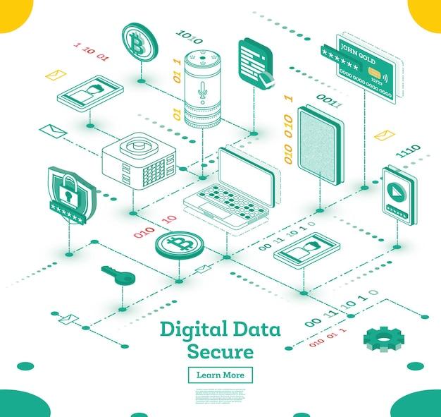 Concept isométrique de cybersécurité. illustration vectorielle. big data et système de sécurité internet. ensemble d'icônes.