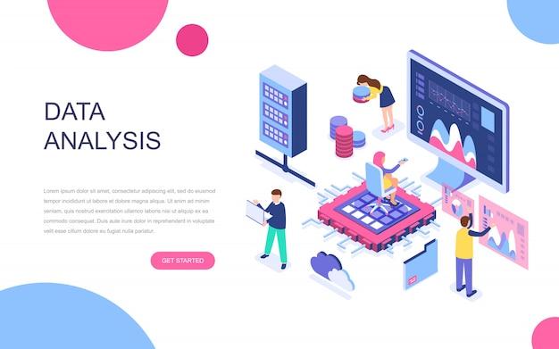 Concept isométrique de design plat moderne d'analyse de données volumineuses