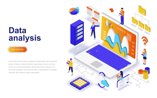 Concept isométrique de design plat moderne d'analyse de données.
