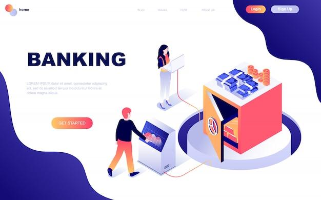 Concept isométrique de design plat moderne de la banque en ligne