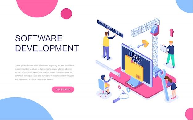 Concept isométrique de design plat moderne de développement de logiciels