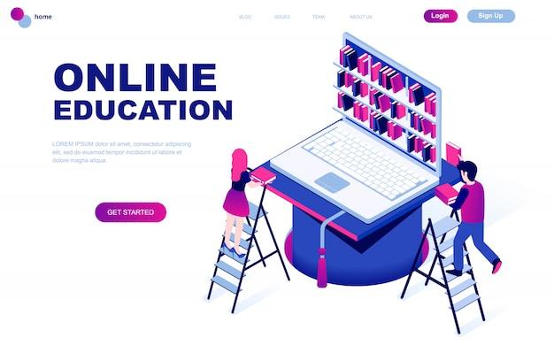 Concept isométrique de design plat moderne de l'éducation en ligne