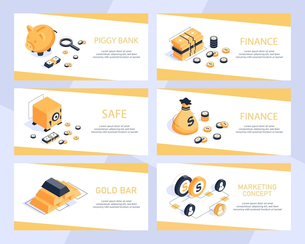 Concept isométrique de design plat moderne de la finance, état financier, comptabilité de trésorerie argent isométrique