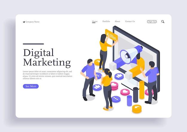Concept isométrique de design plat moderne de marketing numérique pour bannière et site web