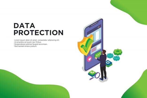 Concept isométrique de design plat moderne de la protection des données.