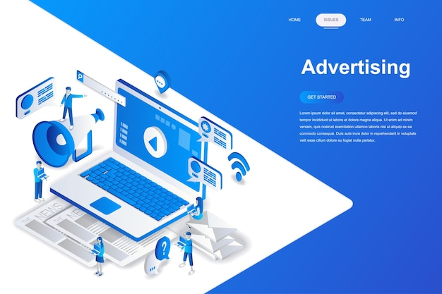 Concept isométrique de design plat moderne de publicité et de promotion.