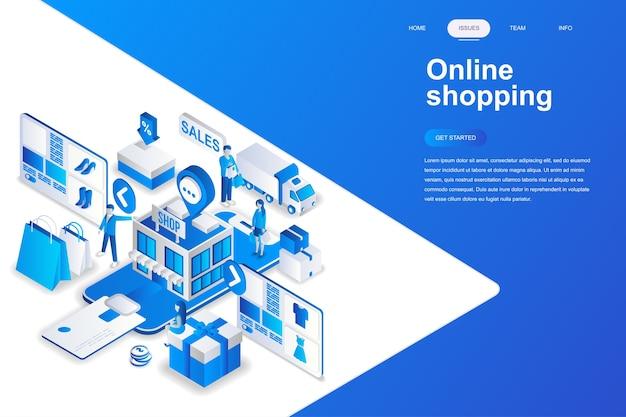 Concept isométrique de design plat moderne de shopping en ligne.