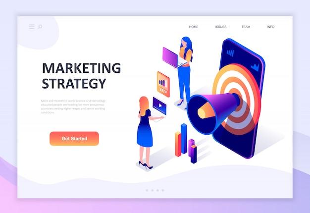 Concept isométrique de design plat moderne de la stratégie marketing