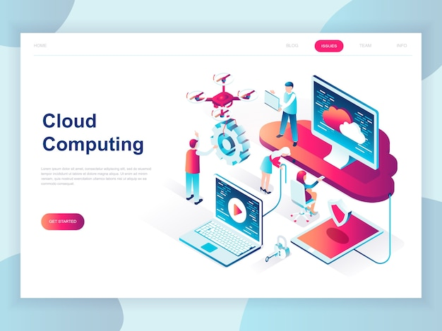Concept isométrique design plat moderne de la technologie cloud
