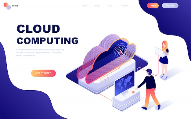 Concept isométrique de design plat moderne de la technologie cloud