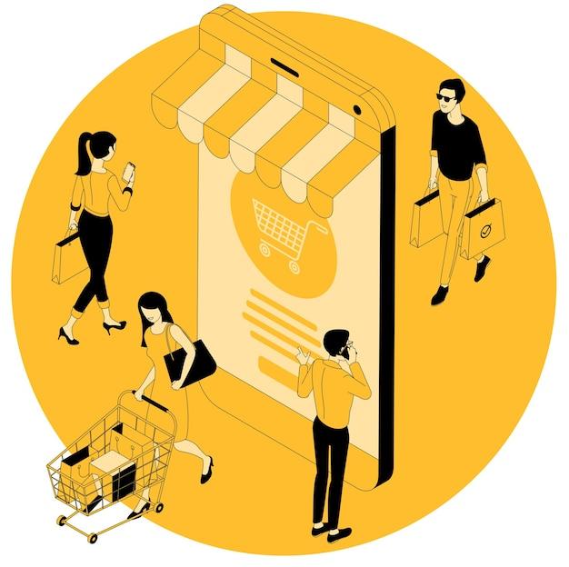 Concept isométrique de design plat pour vendredi noir, été saisonnier, automne, printemps, vente d'hiver, achats mobiles et en ligne avec des gens heureux, hommes et femmes avec des sacs à provisions, chariot de supermarché.
