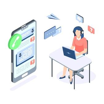 Concept isométrique du centre d'appels support client aide bannière web vector illustration professionnelle