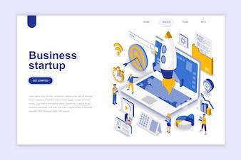 Concept isométrique du design plat moderne de démarrage d'entreprise.