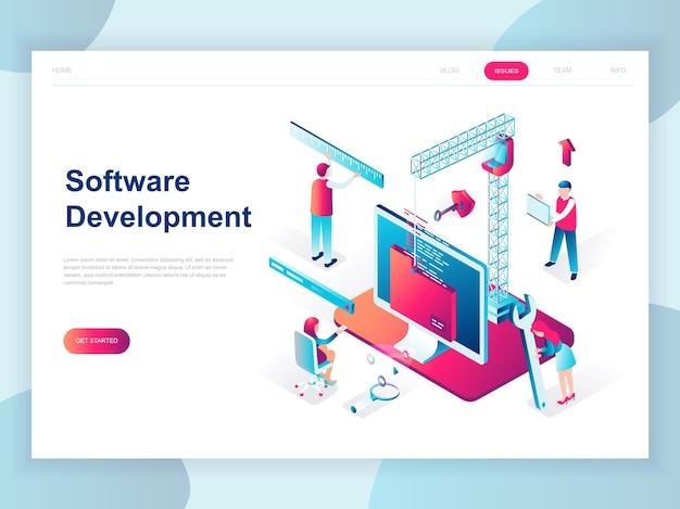 Concept isométrique du design plat moderne du développement de logiciels