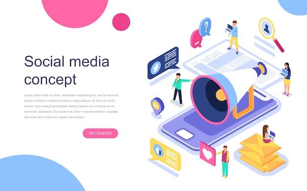Concept isométrique du design plat moderne des médias sociaux