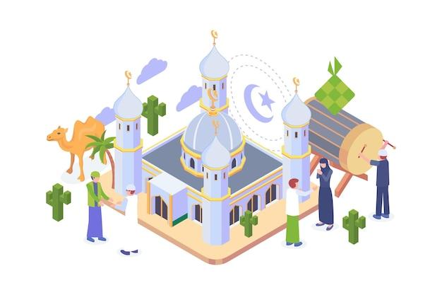 Concept isométrique du ramadan moubarak