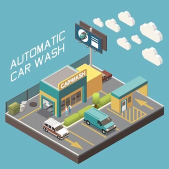 Concept isométrique du territoire extérieur du lave-auto automatique et des voitures en train de sortir