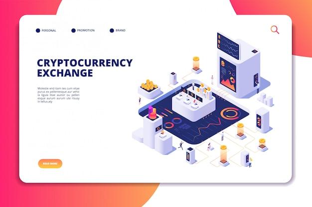 Concept isométrique d'échange de crypto-monnaie. échange de chaînes de blocs, transactions commerciales cryptographiques. page de destination de l'économie numérique