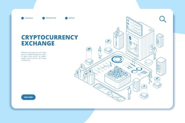 Concept isométrique d'échange de crypto-monnaie