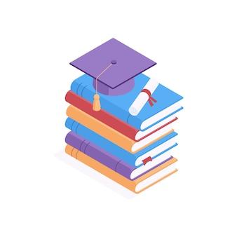 Concept isométrique de l'éducation - casquette académique carrée et diplôme allongé sur une pile de livres en papier à couverture rigide colorés