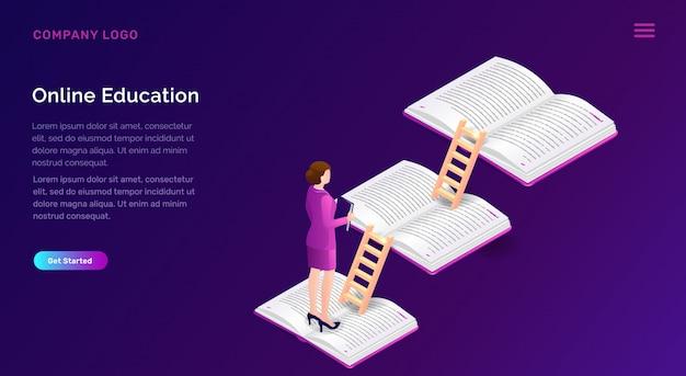 Concept isométrique d'éducation ou de formation en ligne