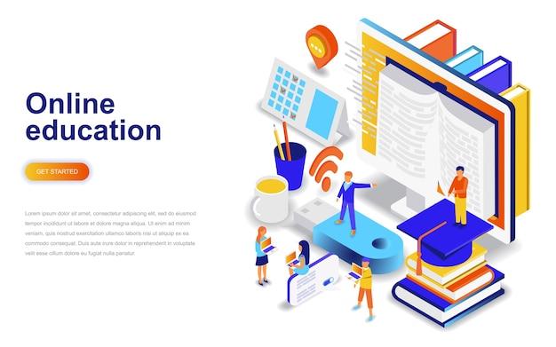 Concept isométrique de l'éducation en ligne moderne design plat.