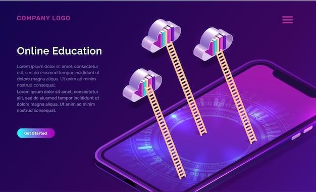 Concept isométrique de l'éducation en ligne