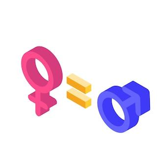 Concept isométrique d'égalité des sexes avec signe masculin et féminin