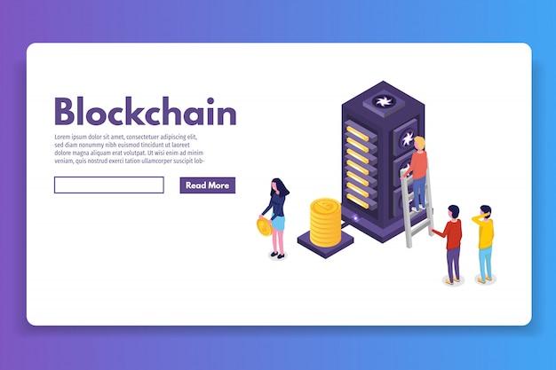 Concept isométrique de l'exploitation minière de bitcoin farm ultraviolet. illustration vectorielle.