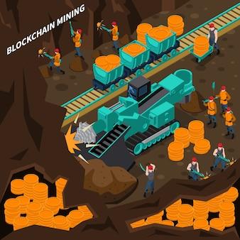 Concept isométrique de l'exploitation minière blockchain
