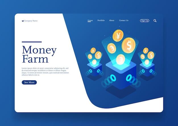 Le concept isométrique de la ferme qui coule de l'argent fait de l'argent et une croissance à rendement élevé