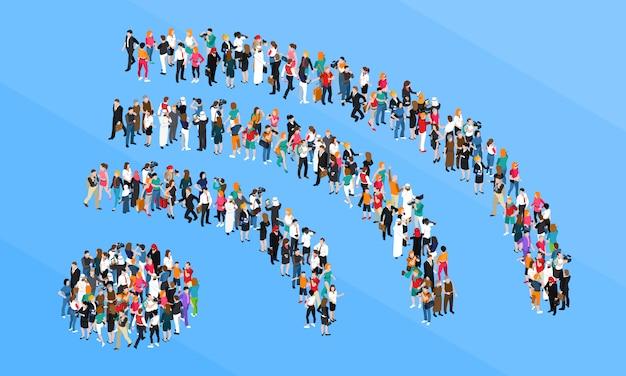 Concept isométrique de la foule signe wifi