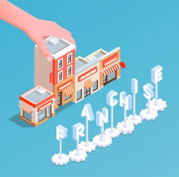 Concept isométrique de franchise avec illustration commerciale et financière