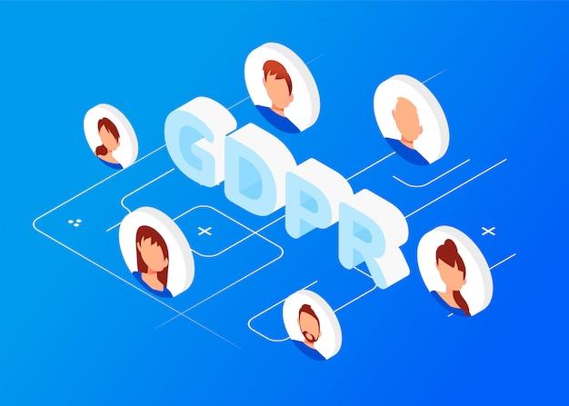 Concept isométrique gdpr. protection des données personnelles.