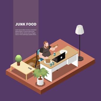 Concept isométrique de gourmandise avec homme mangeant de la malbouffe et travaillant sur illustration 3d ordinateur portable