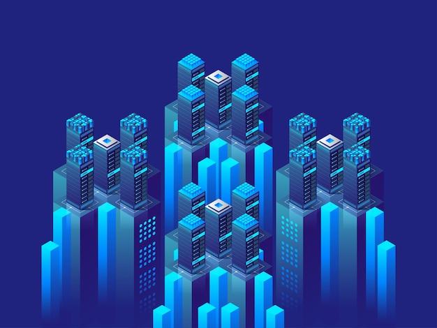 Concept isométrique de haute technologie