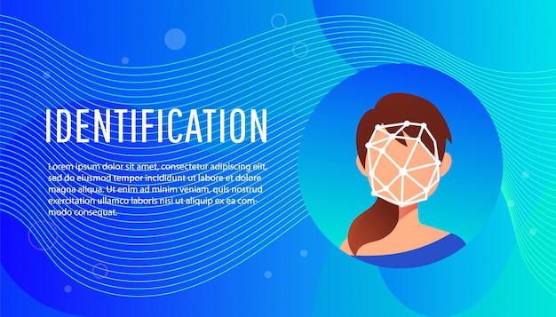 Concept isométrique d'identification de visage de jeune femme.