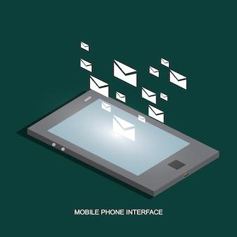 Concept isométrique de l'interface de téléphonie mobile