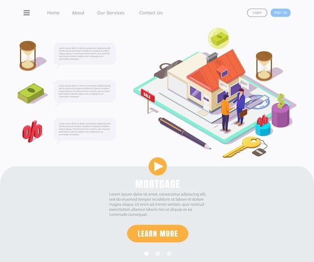 Concept isométrique d'un jeune homme prenant une hypothèque sur une maison, page de destination pour les affaires immobilières