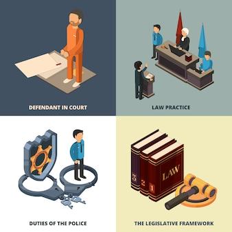 Concept isométrique juridique. avocat juge richter accusé de livres de justice marteau et autres symboles