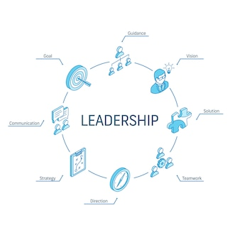 Concept isométrique de leadership. icônes 3d de ligne connectée. système de conception infographique de cercle intégré. symboles de vision, d'objectif, d'orientation et de stratégie