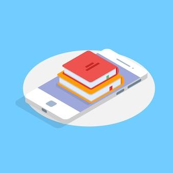 Concept isométrique en ligne mobile de bibliothèque. illustration vectorielle.