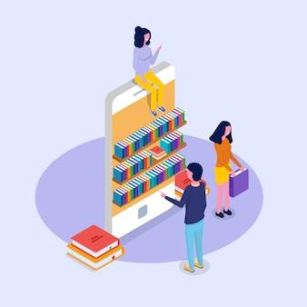 Concept isométrique en ligne mobile de bibliothèque. micro personnes lisant des livres. illustration vectorielle.