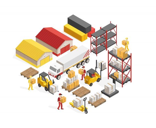 Concept isométrique de logistique d'entrepôt