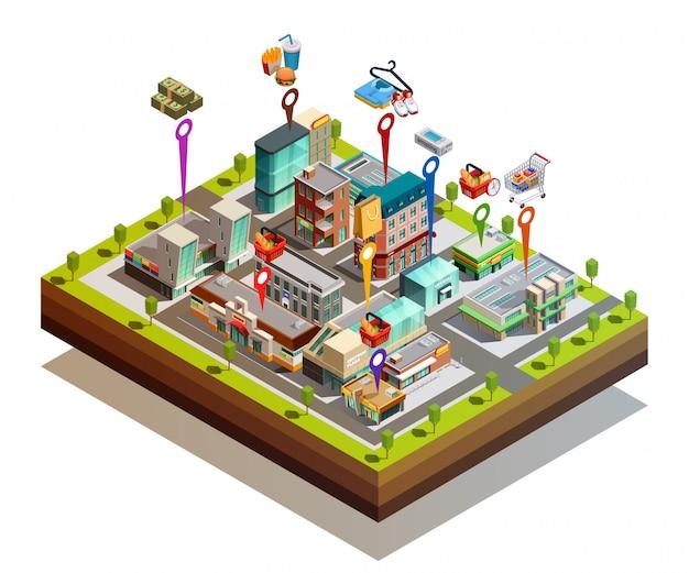 Concept isométrique de magasin buiding island