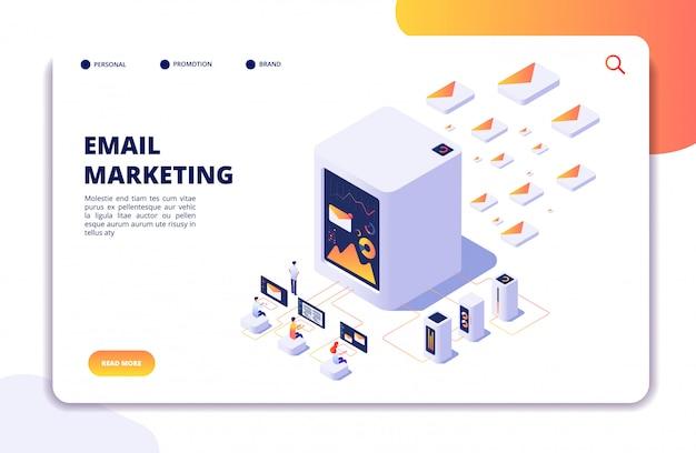 Concept isométrique de marketing par courriel. stratégie d'automatisation du courrier. campagne sortante par e-mail, page de destination du marketing par message