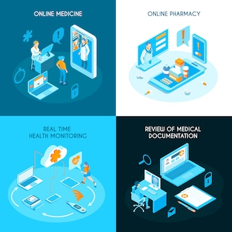 Concept isométrique de médecine en ligne surveillance de la santé de la pharmacie internet en temps réel documentation médicale électronique isolée