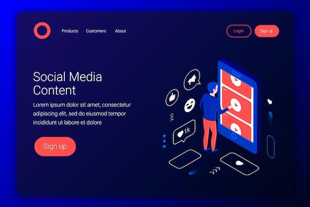 Concept isométrique de médias sociaux. l'homme regarde des vidéos de youtube via un écran de smartphone. style 3d plat. modèle de page de destination. illustration.