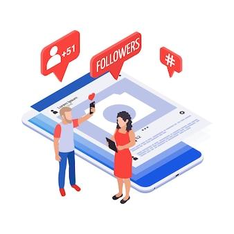 Concept isométrique des médias sociaux avec icônes de notification smartphone et personnages des adeptes