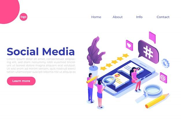Concept isométrique de médias sociaux avec des personnages. modèle de page de destination. illustration